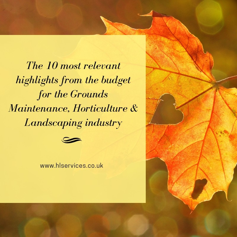 The 10 most relevant highlights from the budget for the Grounds Maintenance, Horticulture & Landscaping industry